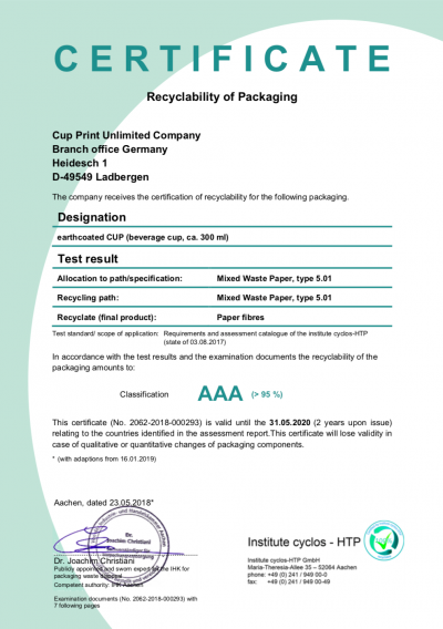 AAA status green dot recyclable paper cup path certification EU and Switzerland from CupPrint
