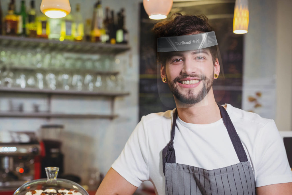 hospitality worker wearing customised face shield visor